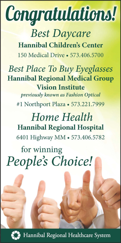 Congratulations to Hannibal Children's Center, HRMG Vision Institute and HRH Home Health for winning Hannibal Courier Post's People's Choice Awards!