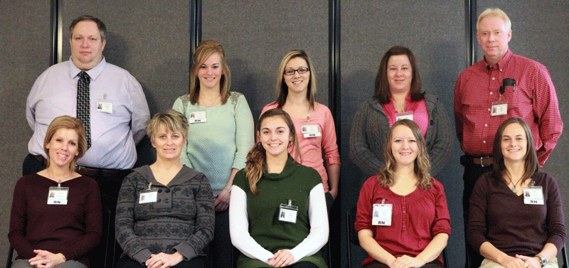 Front Row (left to right):  Stephanie Gregory, RN, CDU; Brenda Arp, Monitor Tech, ICU; Kelsi Duncan, PCT, Med Surg; Mariah Mitchell, RN, ICU; Kelsey Martin, RN, Emergency Services.  Back Row (left to right):  Nathan Westhoff, MLT, Laboratory; Christy Twellman, RN, CDU; Jessica Poage, RN, PCU; Mitzi Buckman, RN, Emergency Services; Min Preston, Pharmacist, Pharmacy.