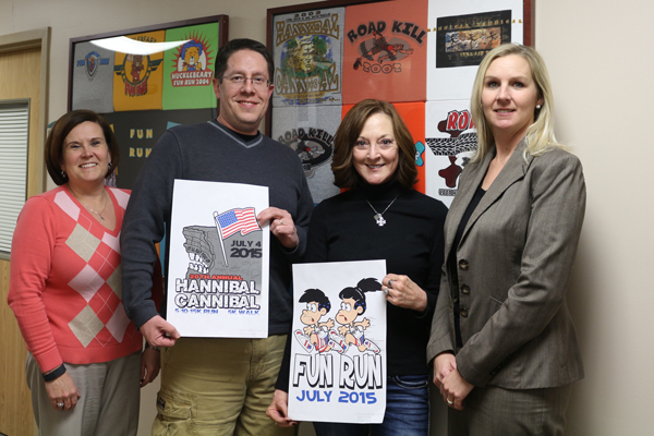 Hannibal Cannibal Logo Contest winners Cheresa Stelle and David Diekamp with Race Director Angie Wilcoxson and Foundation CEO & President, Wendy Harrington.